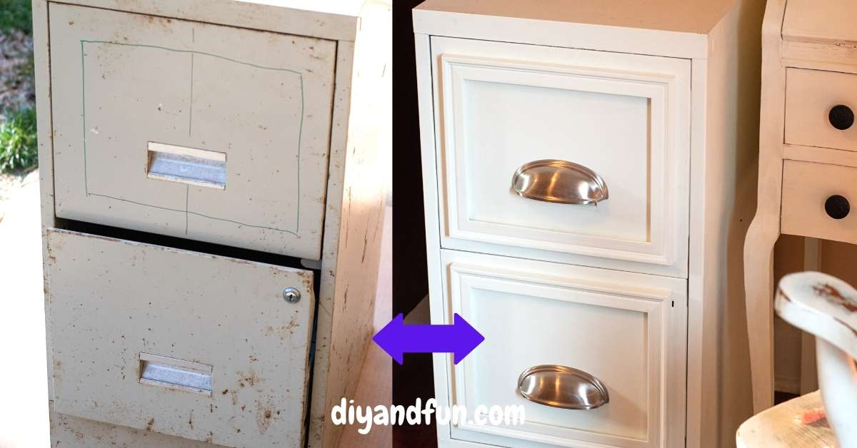 Before and After Easy File Cabinet Makeover