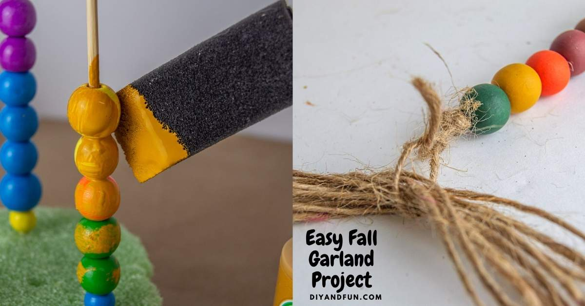 Easy Fall Garland Project, a simple homemade decorative bead project that is fall inspired and fun to make.