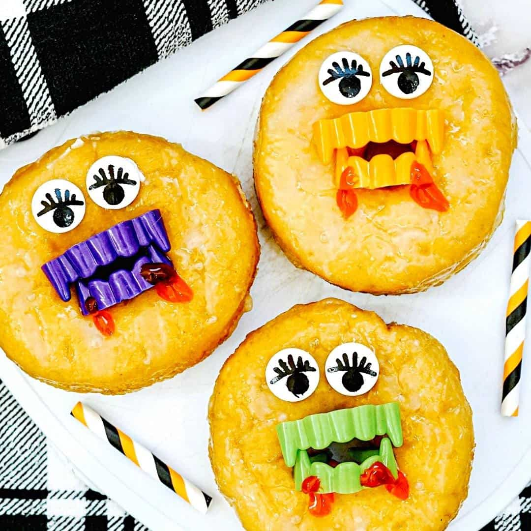 Baked Halloween Cake Mix Donuts, A simple recipe for making baked donuts from cake mix and decorating them for Halloween.