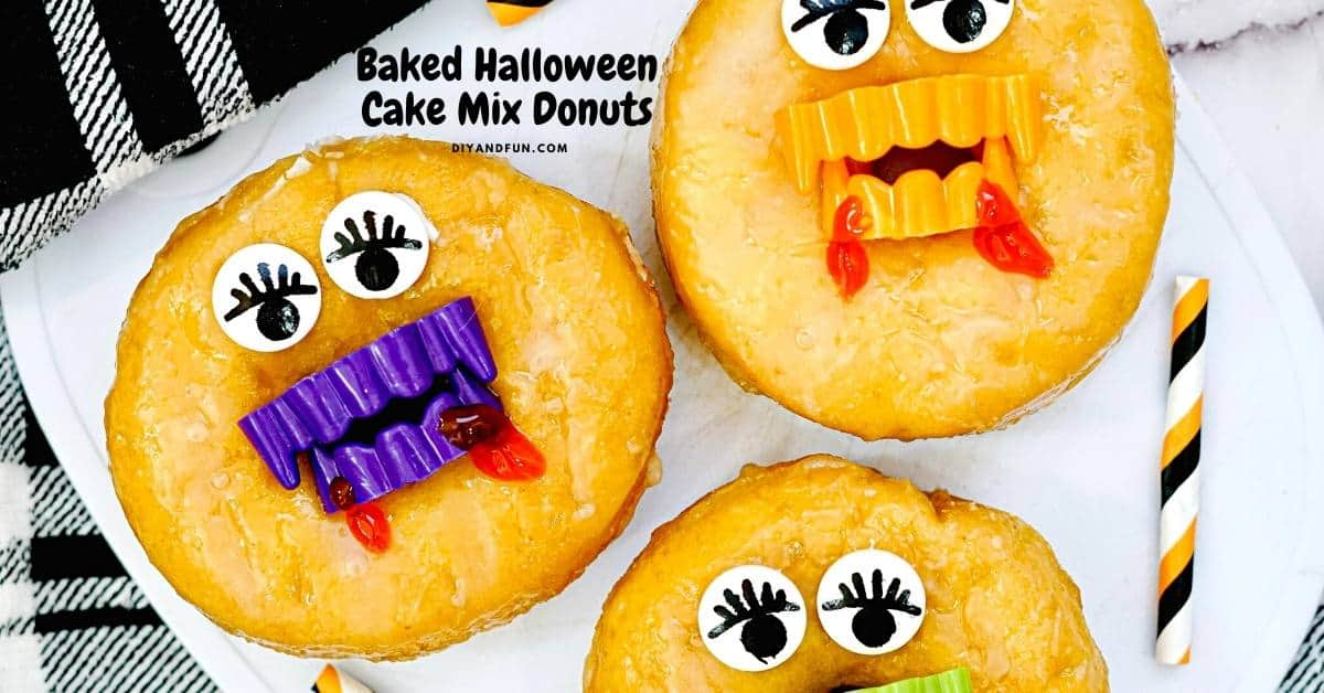 Baked Halloween Cake Mix Donuts