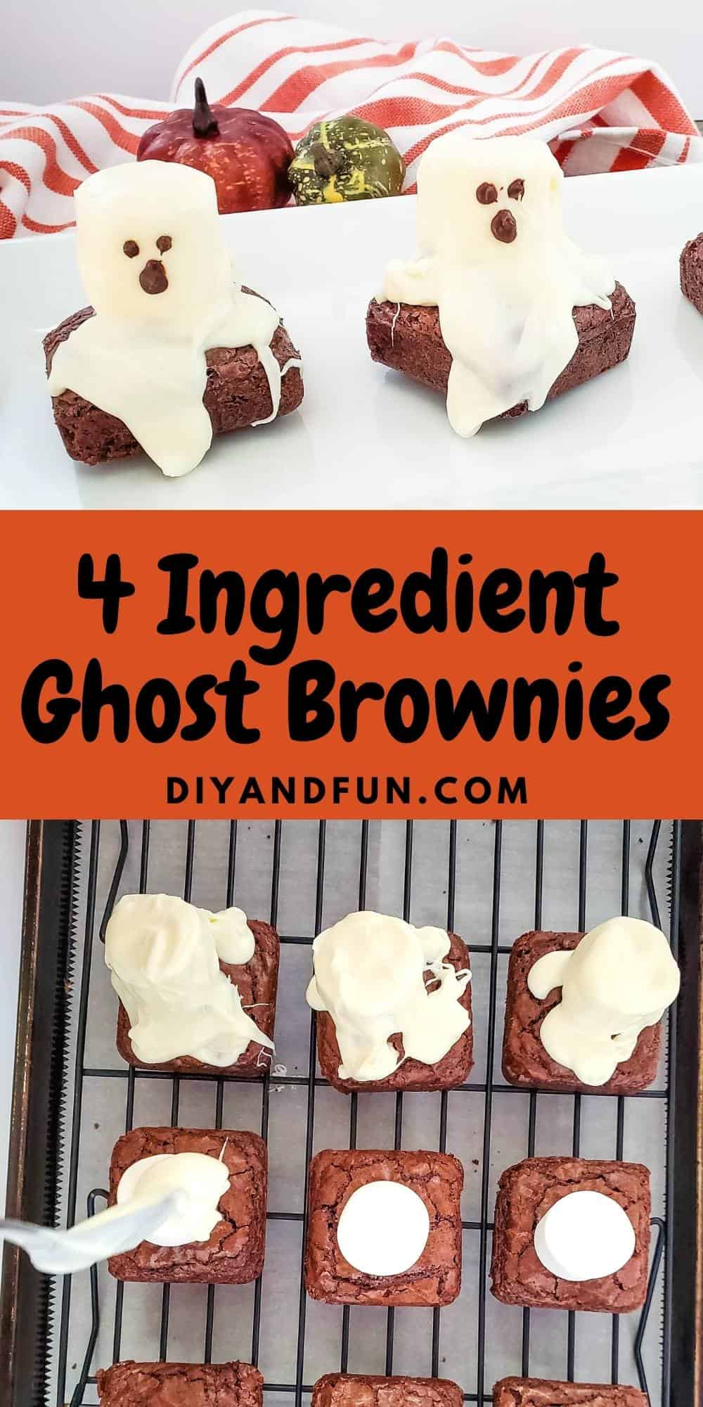 Easy marshmallow ghost brownies