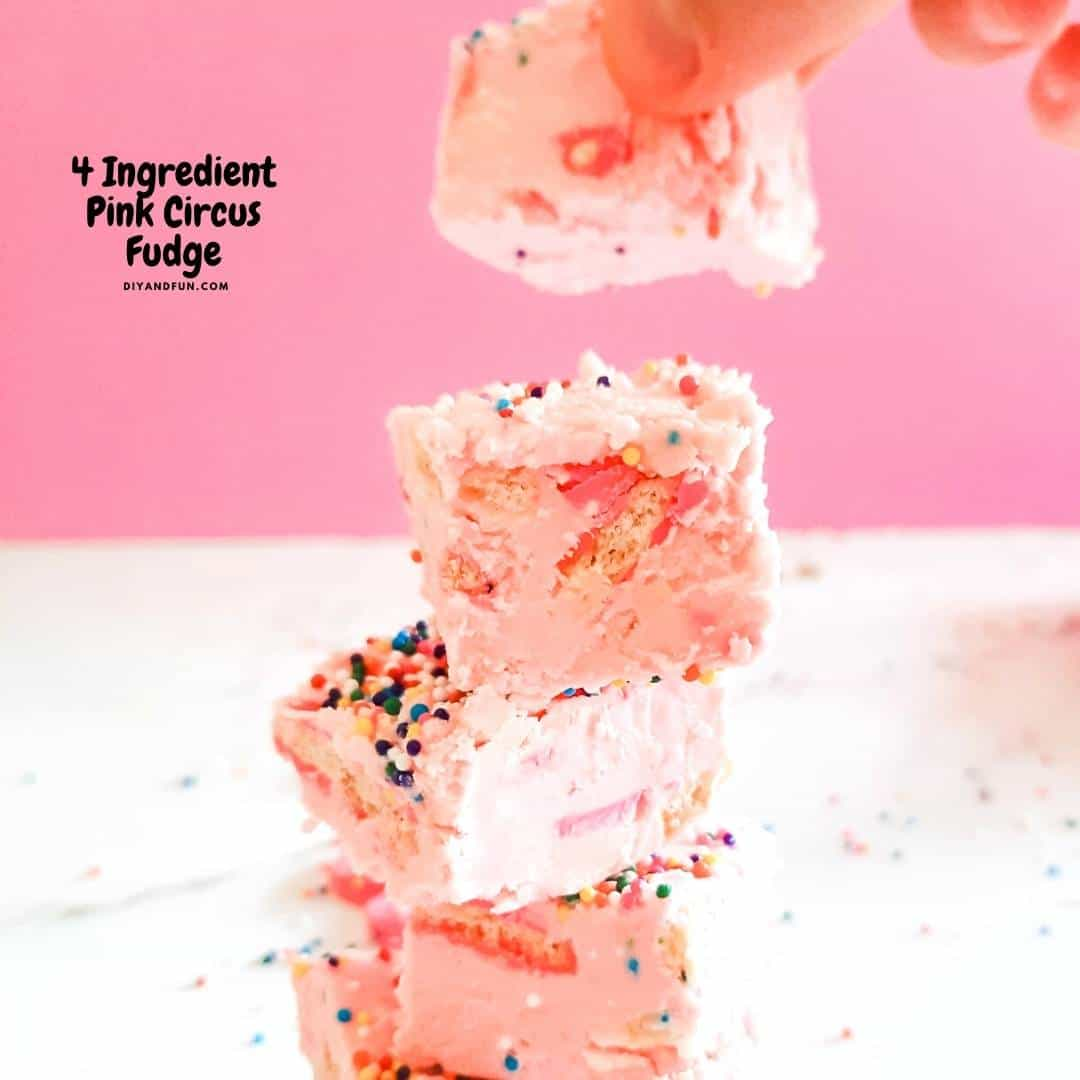 4 Ingredient Pink Circus Fudge