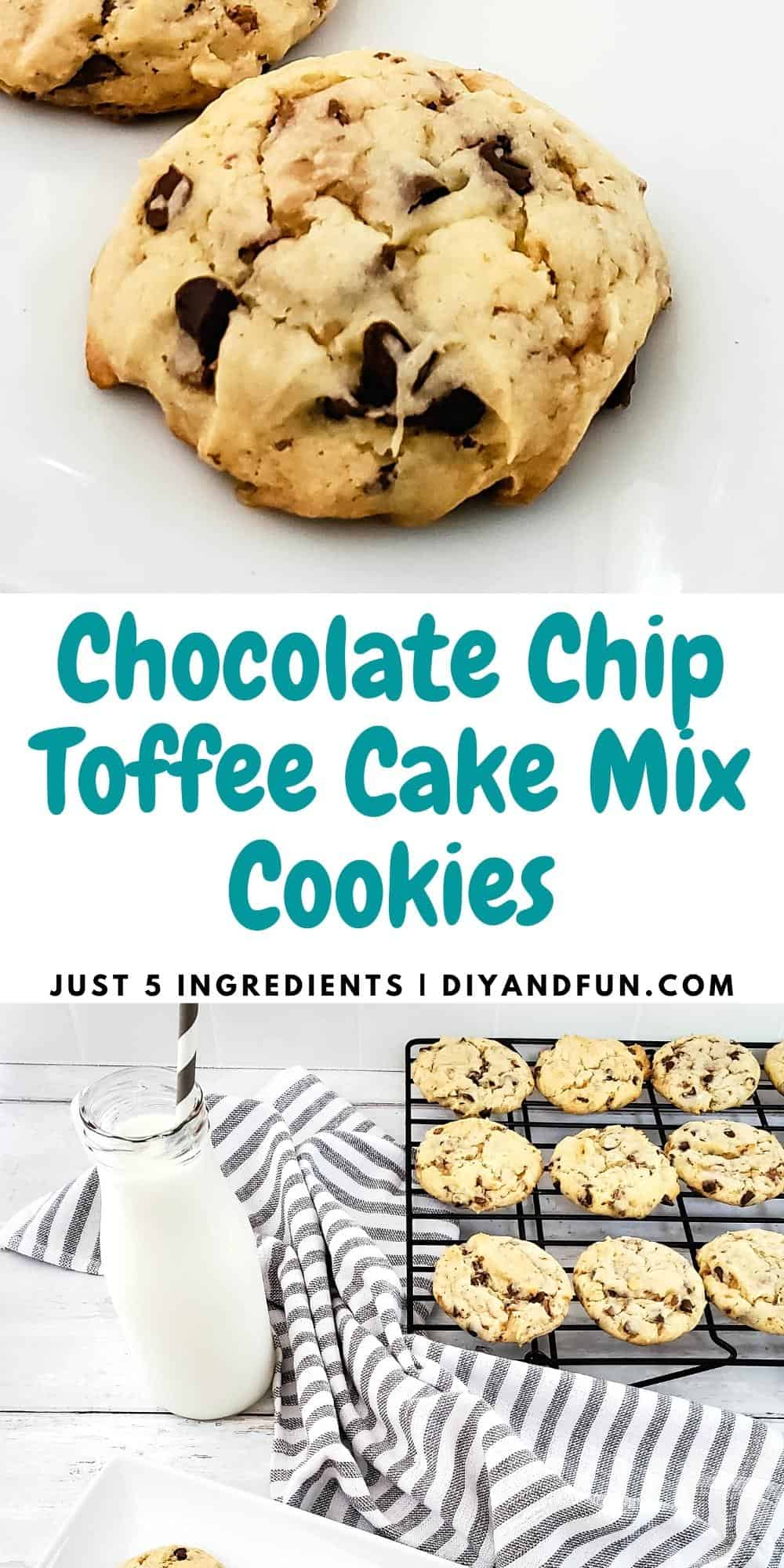 Chocolate Chip Toffee Cake Mix Cookies