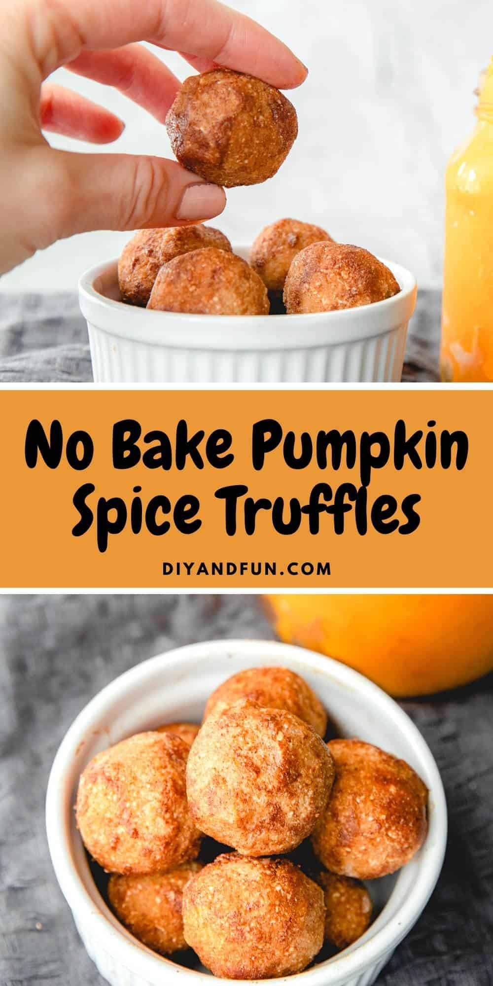No Bake Pumpkin Spice Truffles, a simple recipe for healthy pumpkin treats that can be made in 15 minutes. Vegan and Gluten Free.