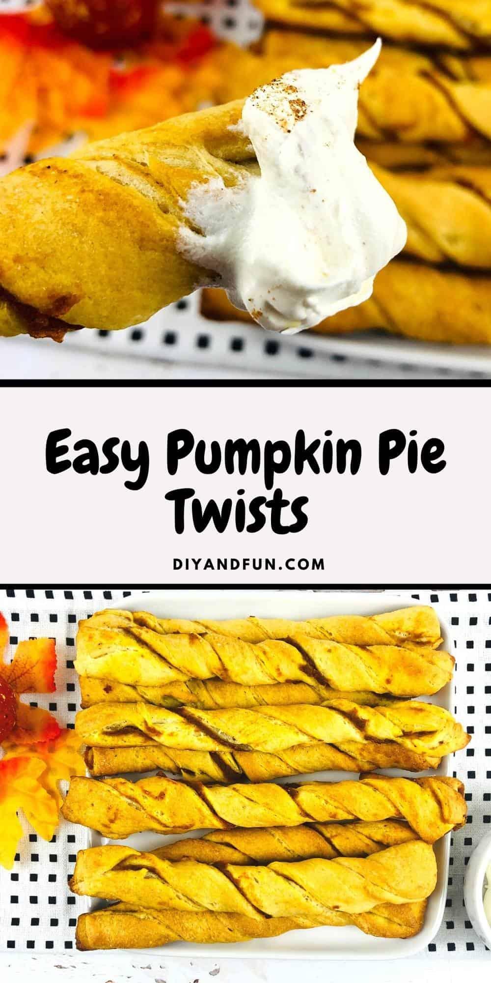Crescent Dough Pumpkin Pie Twists, bread sticks stuffed with pumpkin pie. A simple breakfast, brunch, or snack idea .